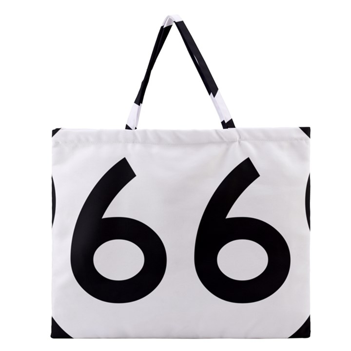 U.S. Route 66 Zipper Large Tote Bag