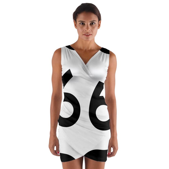 U.S. Route 66 Wrap Front Bodycon Dress