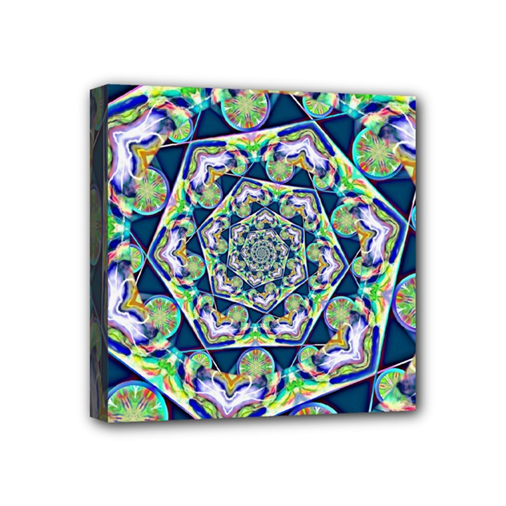 Power Spiral Polygon Blue Green White Mini Canvas 4  x 4