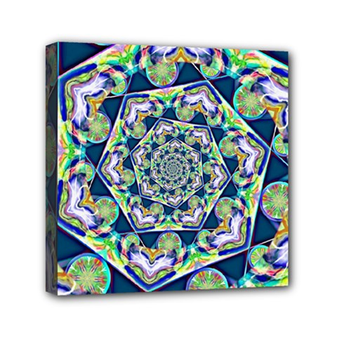 Power Spiral Polygon Blue Green White Mini Canvas 6  x 6