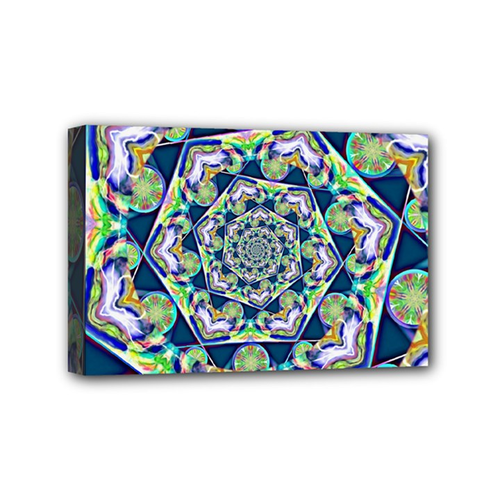 Power Spiral Polygon Blue Green White Mini Canvas 6  x 4