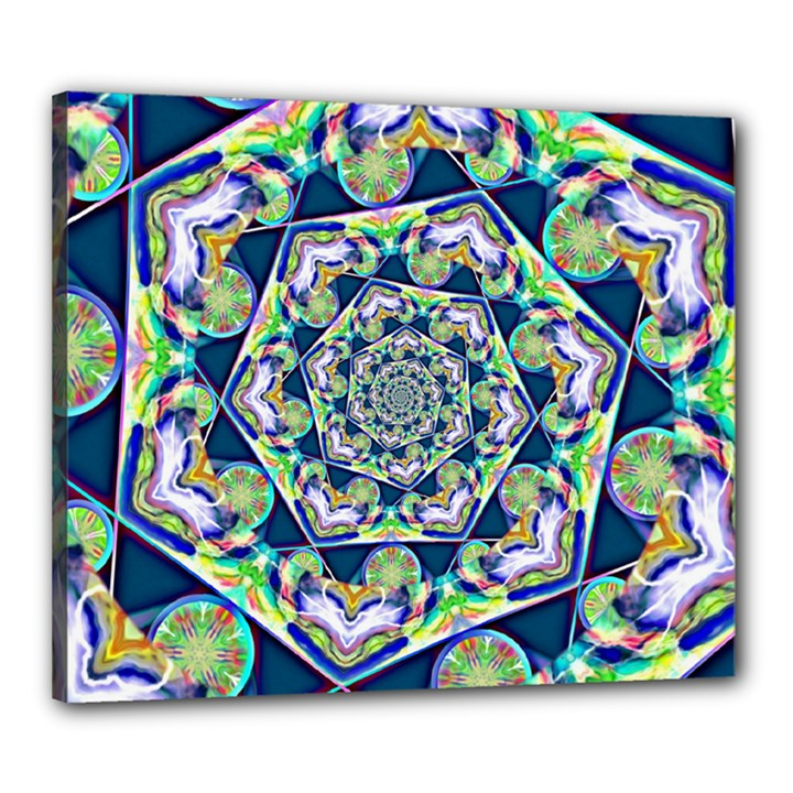 Power Spiral Polygon Blue Green White Canvas 24  x 20