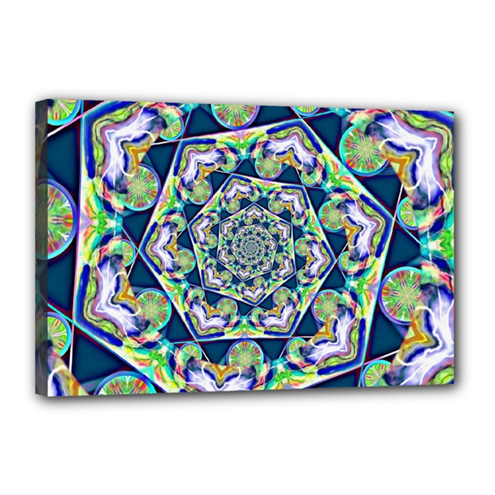Power Spiral Polygon Blue Green White Canvas 18  x 12