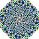 Power Spiral Polygon Blue Green White Folding Umbrellas View1