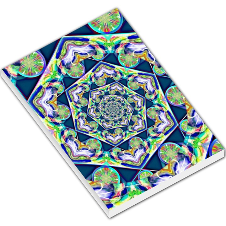 Power Spiral Polygon Blue Green White Large Memo Pads