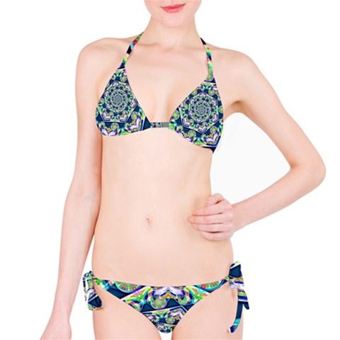 Power Spiral Polygon Blue Green White Bikini Set