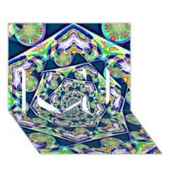 Power Spiral Polygon Blue Green White I Love You 3D Greeting Card (7x5)