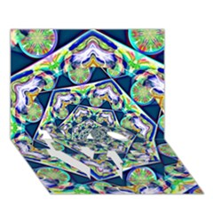 Power Spiral Polygon Blue Green White LOVE Bottom 3D Greeting Card (7x5)