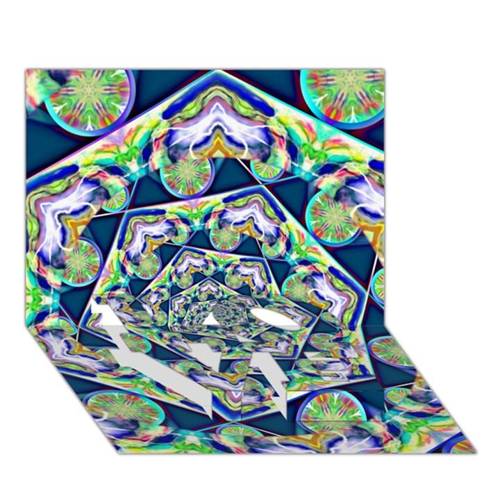 Power Spiral Polygon Blue Green White LOVE Bottom 3D Greeting Card (7x5)