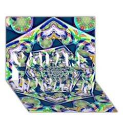 Power Spiral Polygon Blue Green White You Are Invited 3d Greeting Card (7x5)