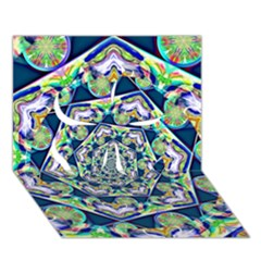 Power Spiral Polygon Blue Green White Clover 3D Greeting Card (7x5)