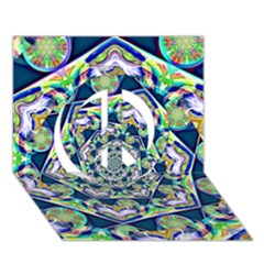 Power Spiral Polygon Blue Green White Peace Sign 3d Greeting Card (7x5)