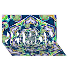 Power Spiral Polygon Blue Green White #1 Mom 3d Greeting Cards (8x4)