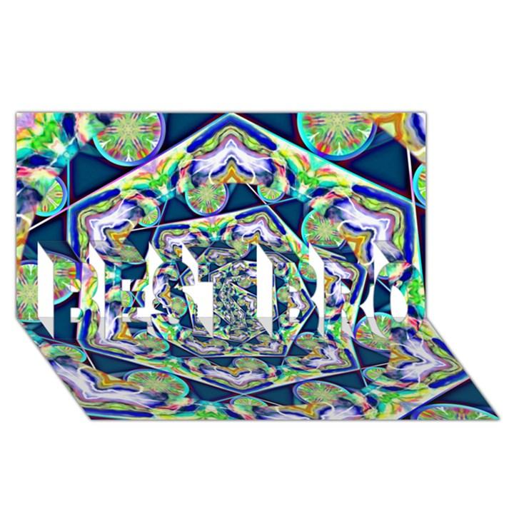 Power Spiral Polygon Blue Green White BEST BRO 3D Greeting Card (8x4)