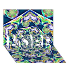 Power Spiral Polygon Blue Green White Hope 3d Greeting Card (7x5)