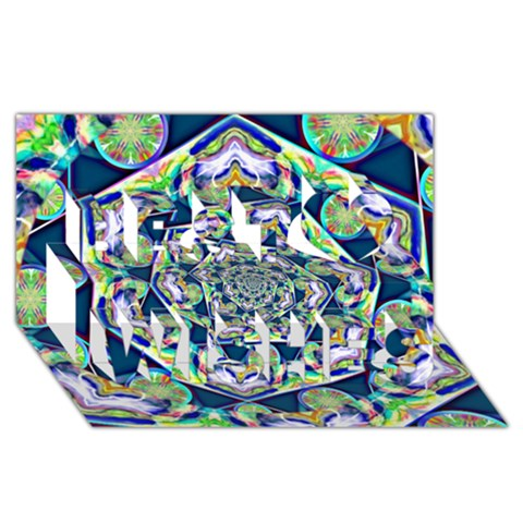 Power Spiral Polygon Blue Green White Best Wish 3D Greeting Card (8x4)