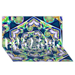 Power Spiral Polygon Blue Green White ENGAGED 3D Greeting Card (8x4)