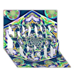 Power Spiral Polygon Blue Green White Thank You 3d Greeting Card (7x5)