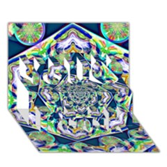 Power Spiral Polygon Blue Green White You Rock 3D Greeting Card (7x5)