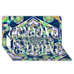 Power Spiral Polygon Blue Green White Congrats Graduate 3D Greeting Card (8x4)