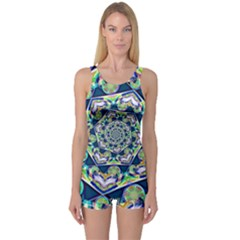Power Spiral Polygon Blue Green White One Piece Boyleg Swimsuit