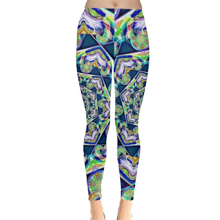 Power Spiral Polygon Blue Green White Leggings
