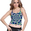 Power Spiral Polygon Blue Green White Spaghetti Strap Bra Top View1