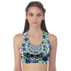Power Spiral Polygon Blue Green White Sports Bra