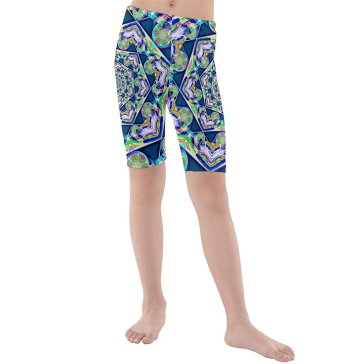 Power Spiral Polygon Blue Green White Kids  Mid Length Swim Shorts