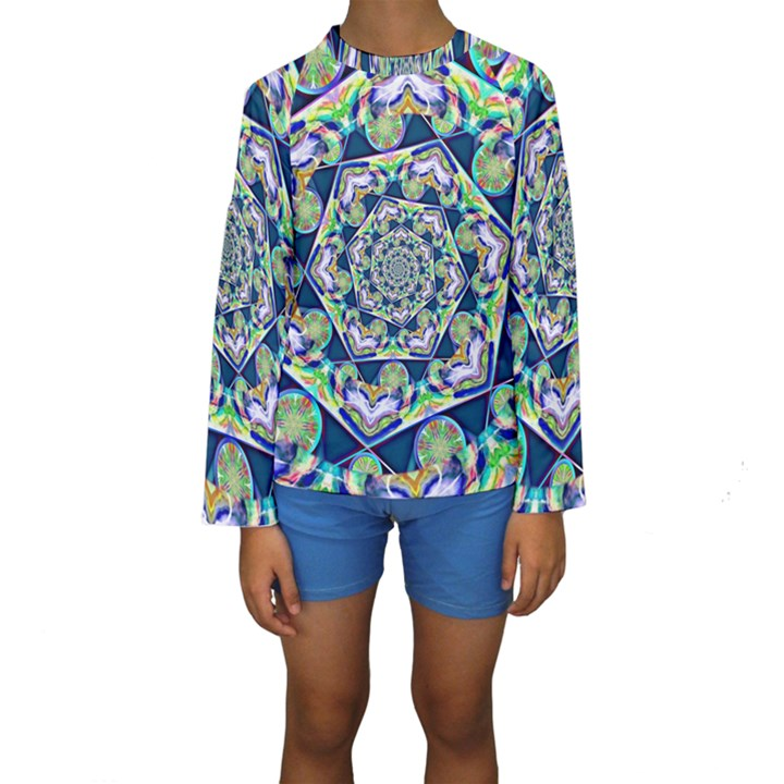 Power Spiral Polygon Blue Green White Kids  Long Sleeve Swimwear