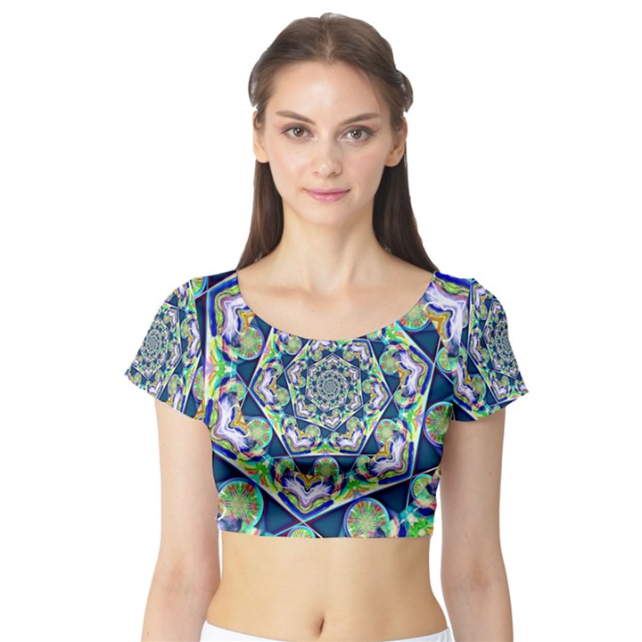 Power Spiral Polygon Blue Green White Short Sleeve Crop Top (Tight Fit)