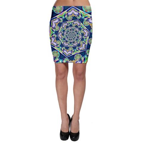 Power Spiral Polygon Blue Green White Bodycon Skirt