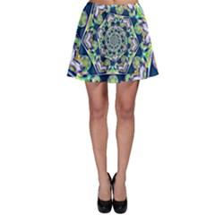 Power Spiral Polygon Blue Green White Skater Skirt