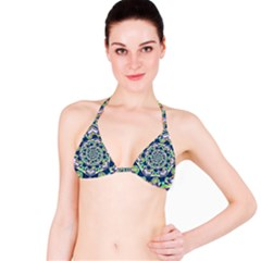 Power Spiral Polygon Blue Green White Bikini Top