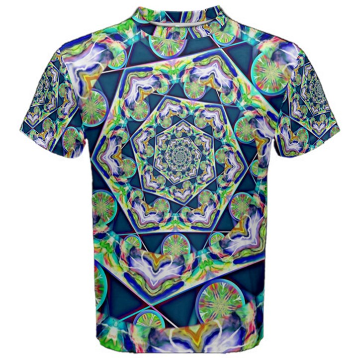 Power Spiral Polygon Blue Green White Men s Cotton Tee