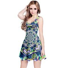 Power Spiral Polygon Blue Green White Reversible Sleeveless Dress