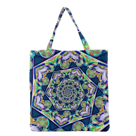 Power Spiral Polygon Blue Green White Grocery Tote Bag