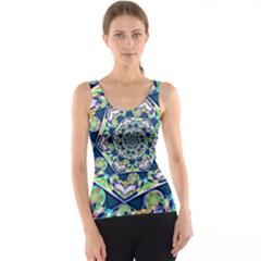 Power Spiral Polygon Blue Green White Tank Top
