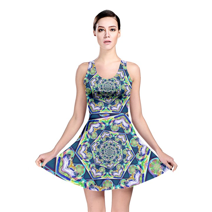 Power Spiral Polygon Blue Green White Reversible Skater Dress