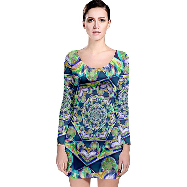 Power Spiral Polygon Blue Green White Long Sleeve Bodycon Dress