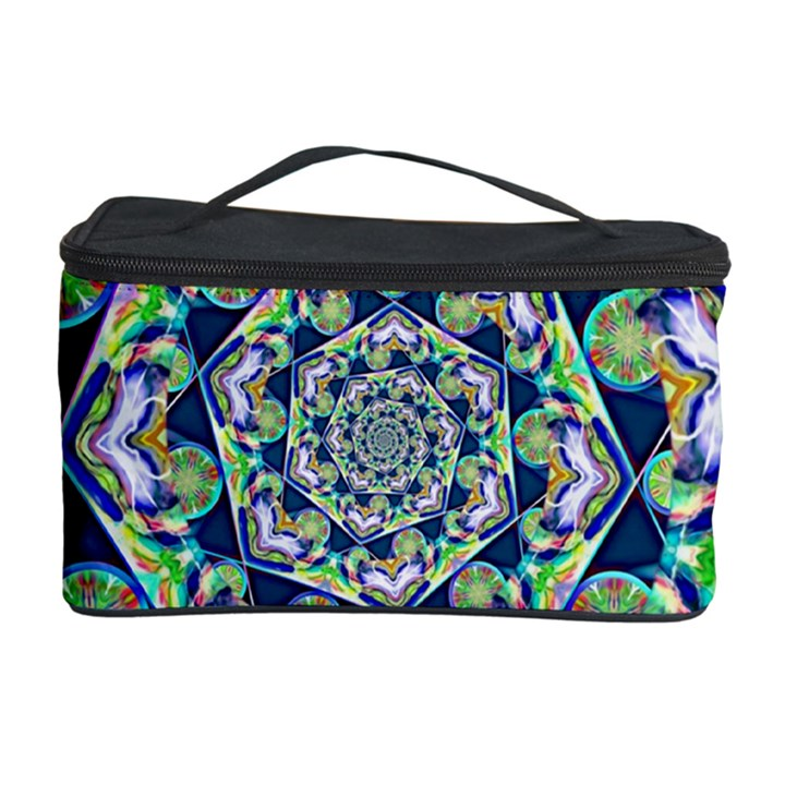 Power Spiral Polygon Blue Green White Cosmetic Storage Case