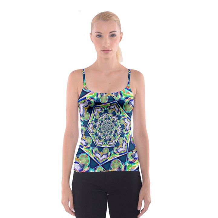 Power Spiral Polygon Blue Green White Spaghetti Strap Top