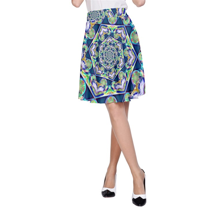 Power Spiral Polygon Blue Green White A-Line Skirt