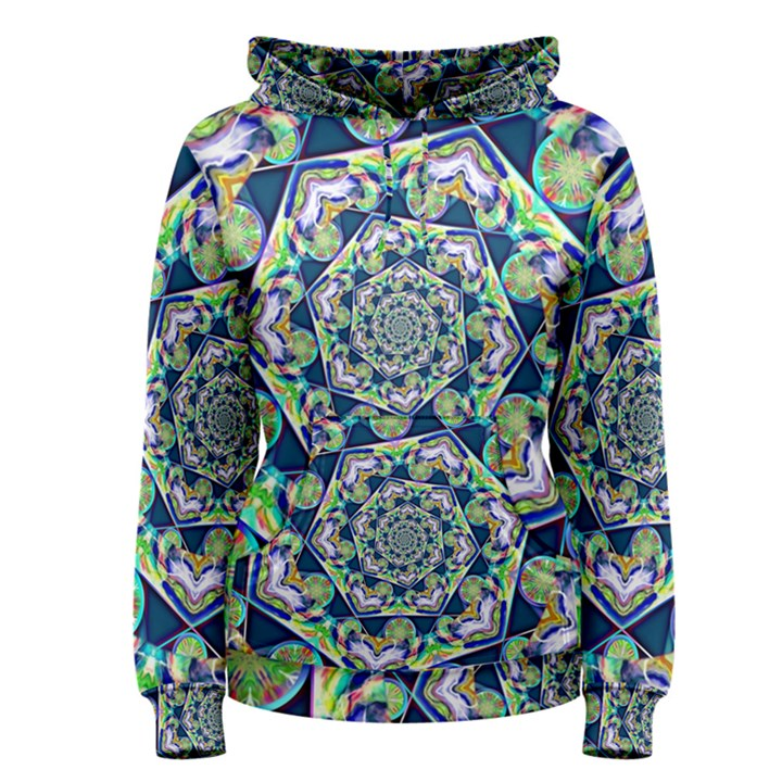 Power Spiral Polygon Blue Green White Women s Pullover Hoodie