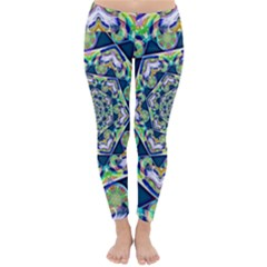 Power Spiral Polygon Blue Green White Winter Leggings