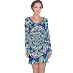 Power Spiral Polygon Blue Green White Long Sleeve Nightdress