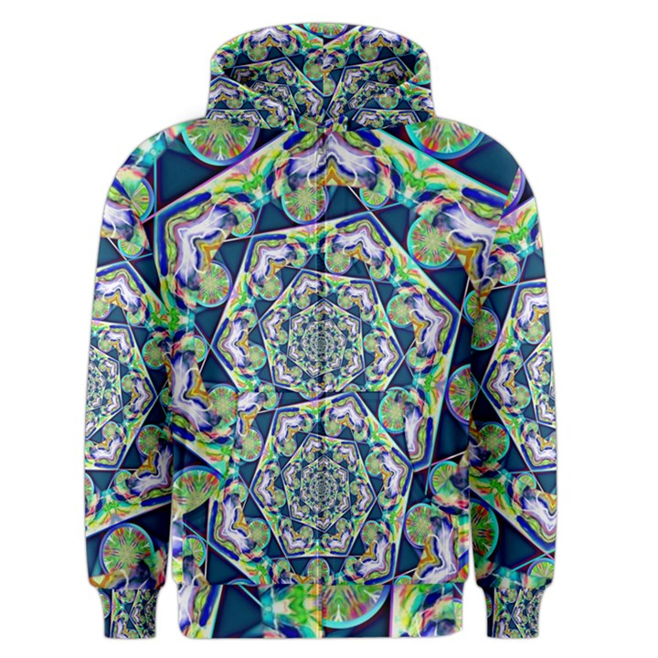 Power Spiral Polygon Blue Green White Men s Zipper Hoodie