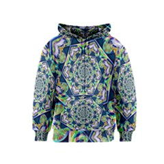 Power Spiral Polygon Blue Green White Kids  Zipper Hoodie