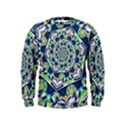 Power Spiral Polygon Blue Green White Kids  Sweatshirt View1