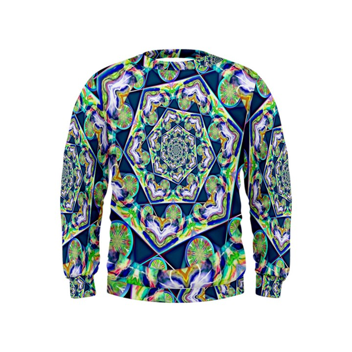 Power Spiral Polygon Blue Green White Kids  Sweatshirt